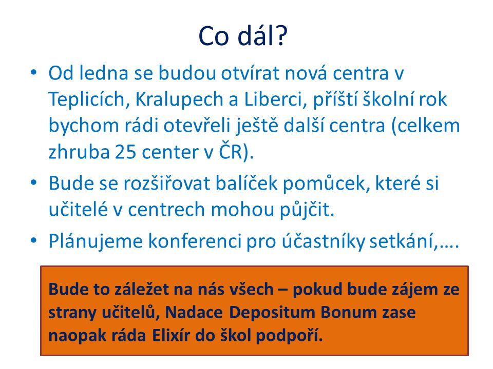 Co dál? • Od ledna se budou otvírat nová centra v Teplicích, Kralupech a Liberci, příští školní rok bychom rádi otevřeli ještě další centra (celkem zh