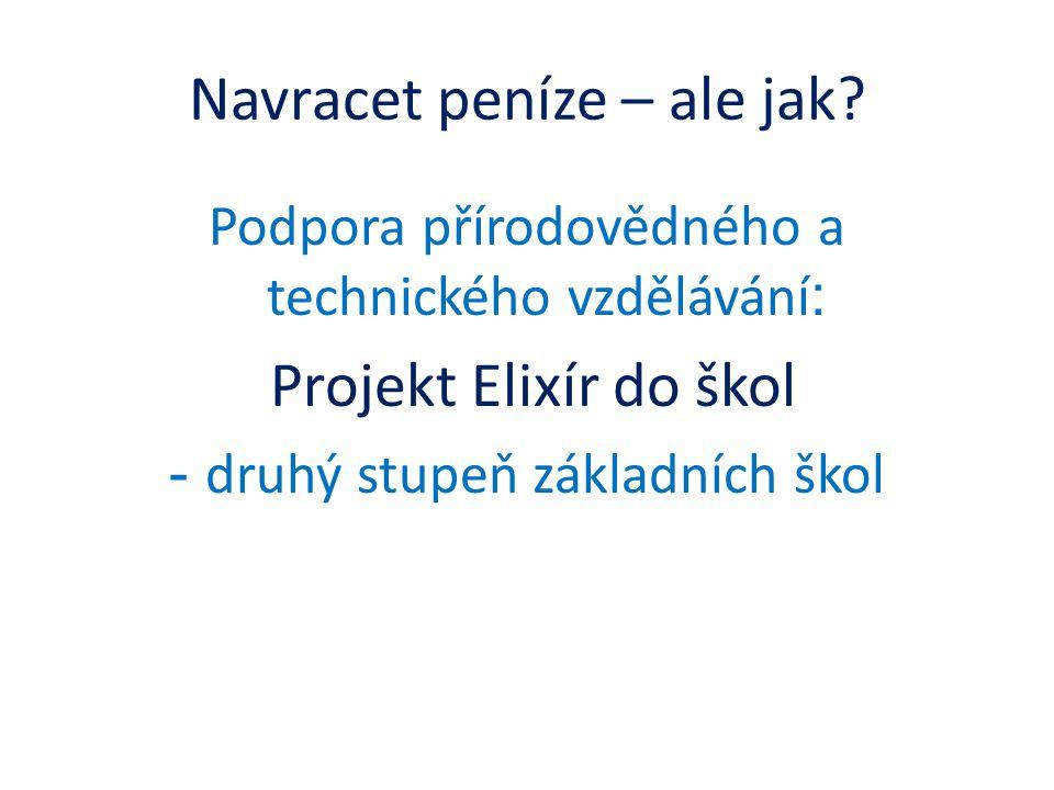 Navracet peníze – ale jak? Podpora přírodovědného a technického vzdělávání : Projekt Elixír do škol - druhý stupeň základních škol