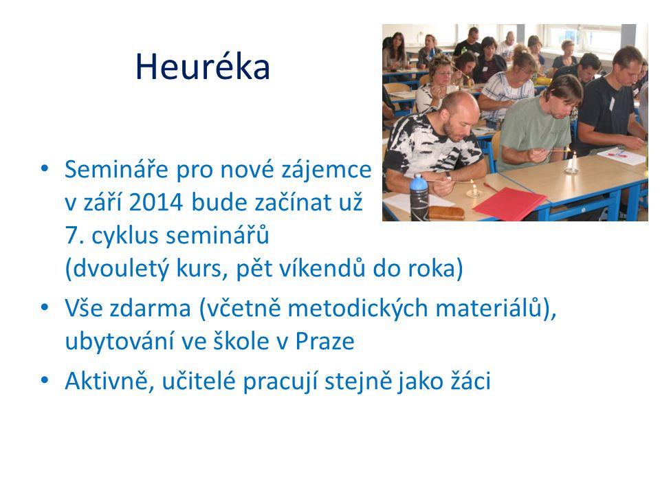 Heuréka • Semináře pro nové zájemce v září 2014 bude začínat už 7. cyklus seminářů (dvouletý kurs, pět víkendů do roka) • Vše zdarma (včetně metodický
