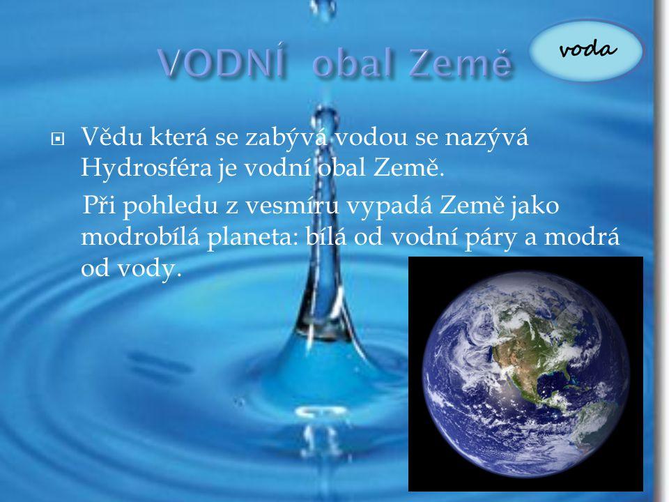  Vědu která se zabývá vodou se nazývá Hydrosféra je vodní obal Země. Při pohledu z vesmíru vypadá Země jako modrobílá planeta: bílá od vodní páry a m