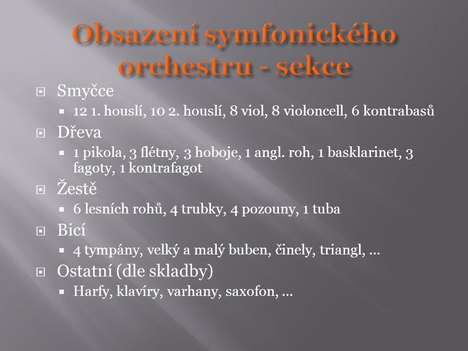  Smyčce  12 1. houslí, 10 2. houslí, 8 viol, 8 violoncell, 6 kontrabasů  Dřeva  1 pikola, 3 flétny, 3 hoboje, 1 angl. roh, 1 basklarinet, 3 fagoty