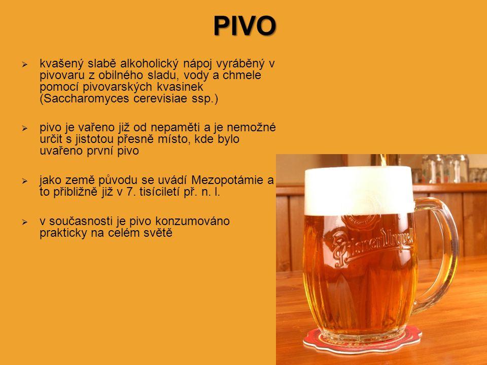 kvašený slabě alkoholický nápoj vyráběný v pivovaru z obilného sladu, vody a chmele pomocí pivovarských kvasinek (Saccharomyces cerevisiae ssp.)  pivo je vařeno již od nepaměti a je nemožné určit s jistotou přesně místo, kde bylo uvařeno první pivo  jako země původu se uvádí Mezopotámie a to přibližně již v 7.