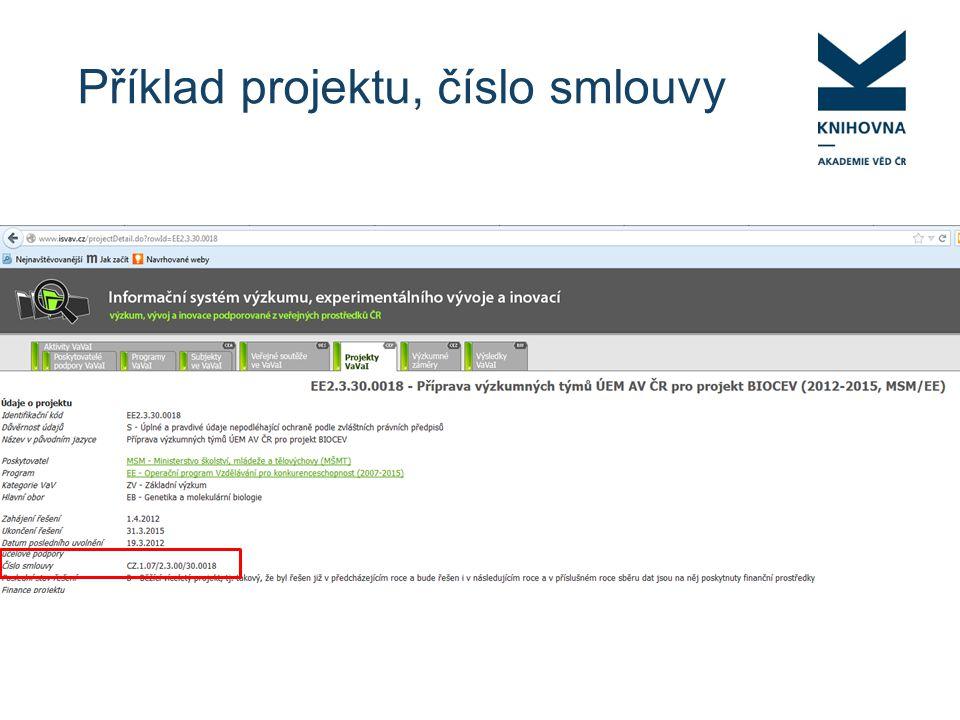 Příklad projektu, číslo smlouvy