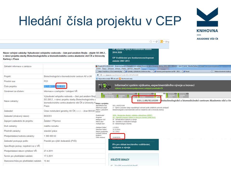Hledání čísla projektu v CEP