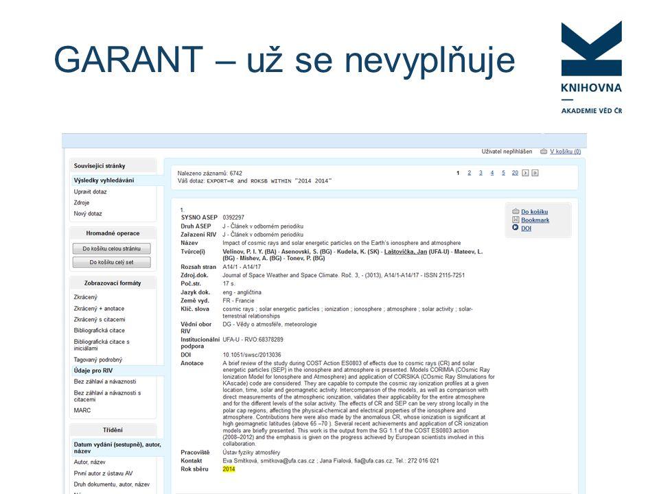 """Doplnění projektu do záznamu odevzdanému v RIV Zadáte požadavek do KNAV Vytvoření duplicitního záznamu """"mimo ASEP , který se odevzdá do RIV se sběrem 2014."""