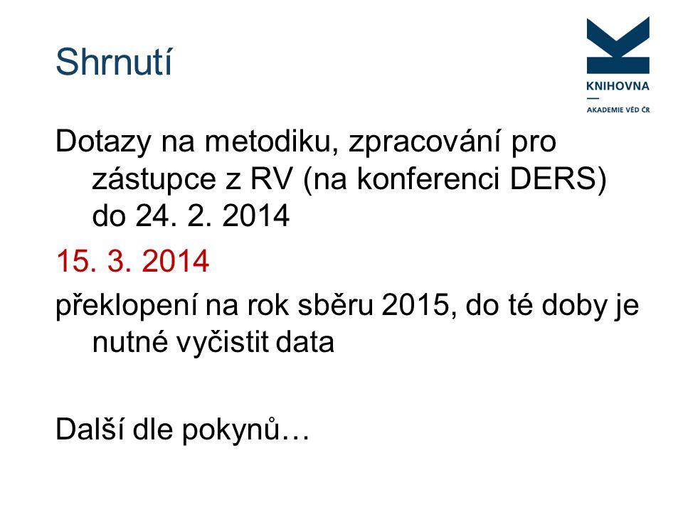 Shrnutí Dotazy na metodiku, zpracování pro zástupce z RV (na konferenci DERS) do 24.