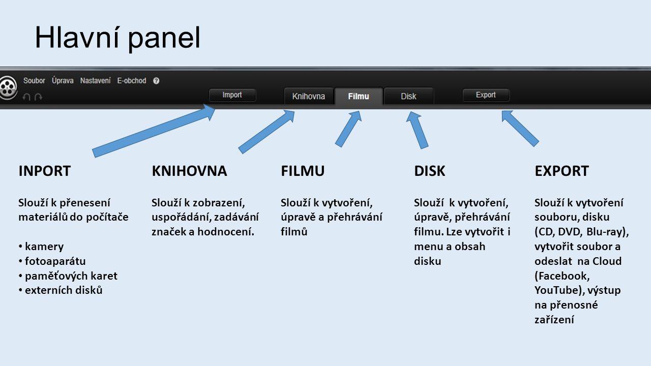 Hlavní panel INPORT Slouží k přenesení materiálů do počítače • kamery • fotoaparátu • paměťových karet • externích disků KNIHOVNA Slouží k zobrazení, uspořádání, zadávání značek a hodnocení.