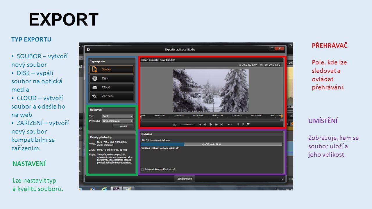 EXPORT TYP EXPORTU • SOUBOR – vytvoří nový soubor • DISK – vypálí soubor na optická media • CLOUD – vytvoří soubor a odešle ho na web • ZAŘÍZENÍ – vytvoří nový soubor kompatibilní se zařízením.
