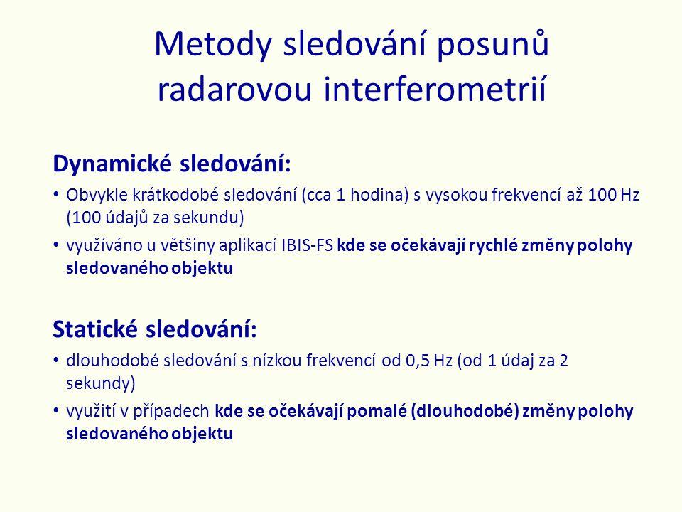 Metody sledování posunů radarovou interferometrií Dynamické sledování: • Obvykle krátkodobé sledování (cca 1 hodina) s vysokou frekvencí až 100 Hz (10