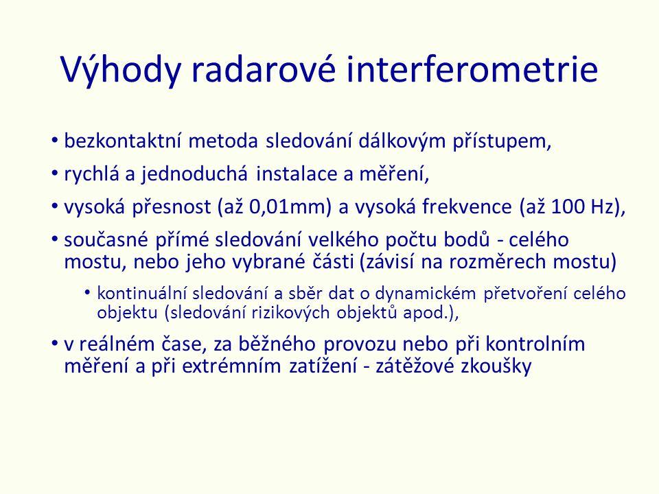 Výhody radarové interferometrie • bezkontaktní metoda sledování dálkovým přístupem, • rychlá a jednoduchá instalace a měření, • vysoká přesnost (až 0,