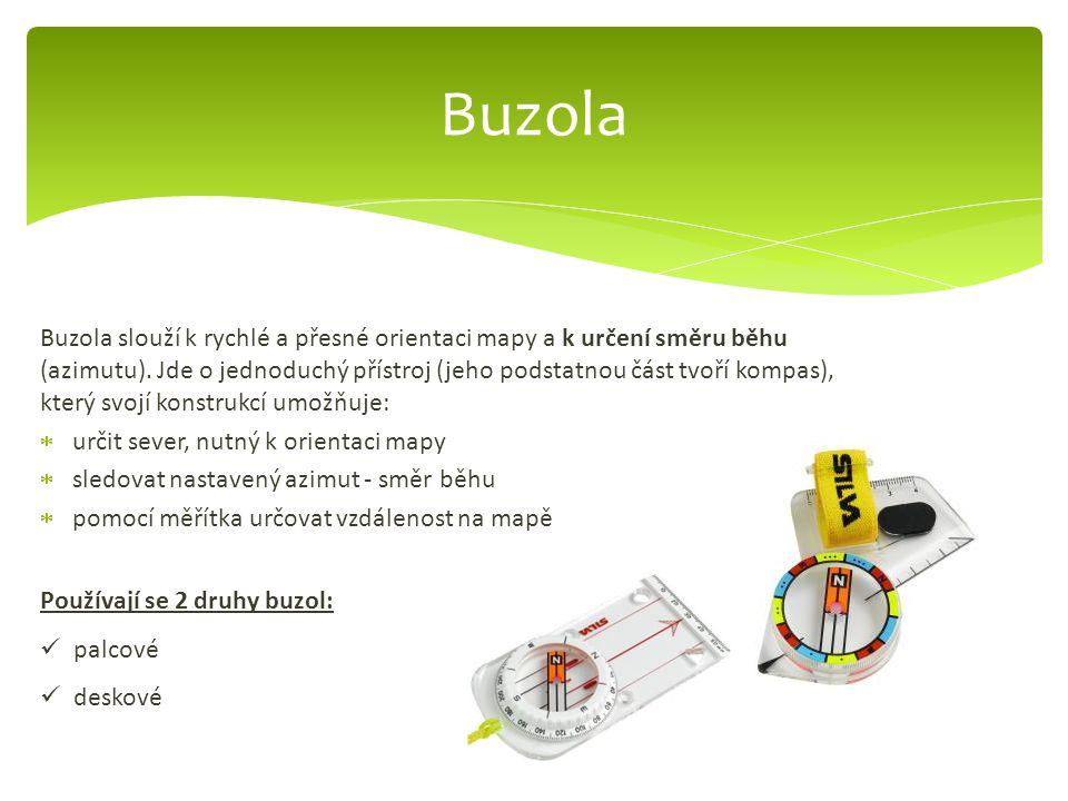 Buzola slouží k rychlé a přesné orientaci mapy a k určení směru běhu (azimutu). Jde o jednoduchý přístroj (jeho podstatnou část tvoří kompas), který s