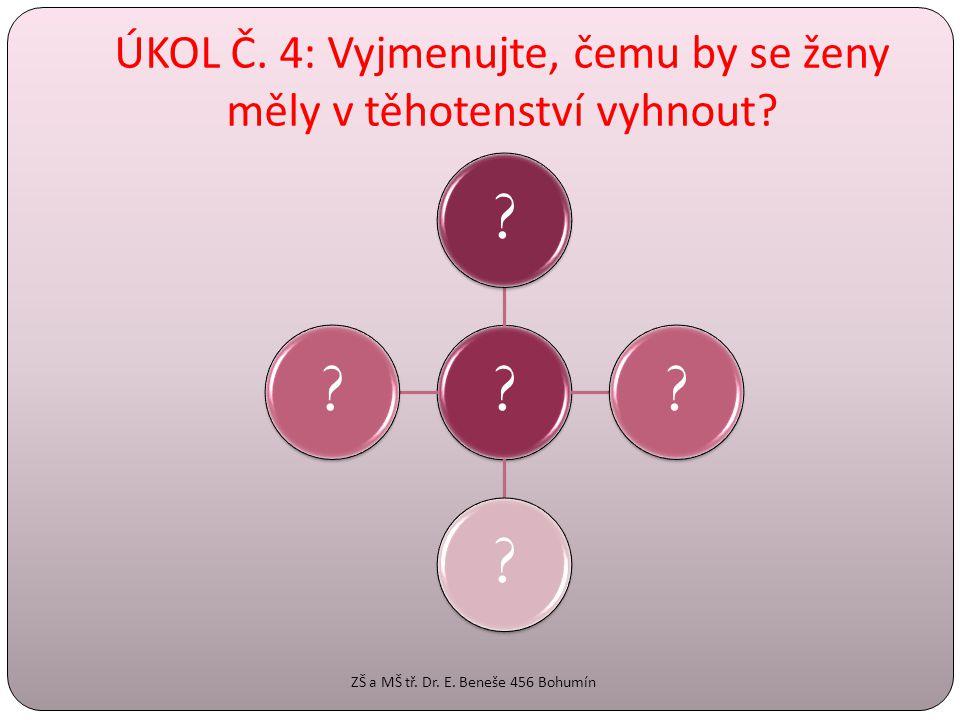ÚKOL Č. 4: Vyjmenujte, čemu by se ženy měly v těhotenství vyhnout? ????? ZŠ a MŠ tř. Dr. E. Beneše 456 Bohumín