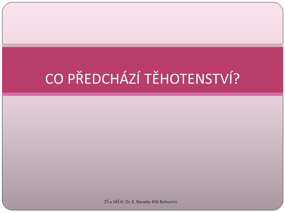OBECNĚ O TĚHOTENSTVÍ  gravidita  období vývoje nového jedince z oplozeného vajíčka v děloze matky  v průměru trvá 9 měsíců – 280 dní od prvního dne poslední menstruace (40 týdnů) ZŠ a MŠ tř.