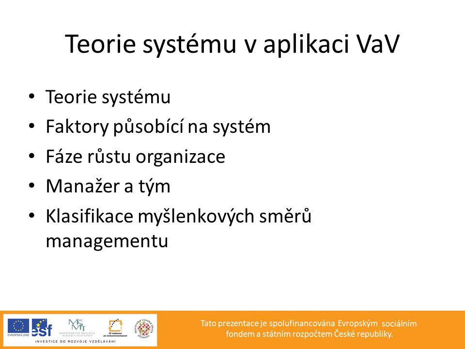 Teorie systému v aplikaci VaV • Teorie systému • Faktory působící na systém • Fáze růstu organizace • Manažer a tým • Klasifikace myšlenkových směrů m