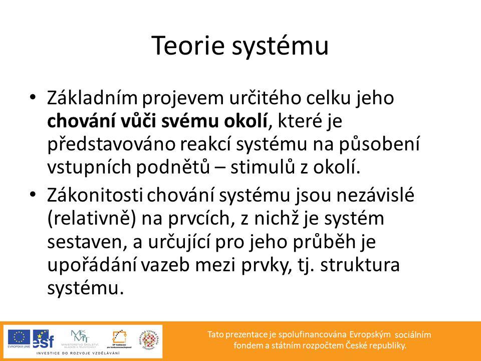 Teorie systému • Základním projevem určitého celku jeho chování vůči svému okolí, které je představováno reakcí systému na působení vstupních podnětů