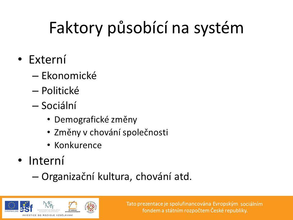 Faktory působící na systém • Externí – Ekonomické – Politické – Sociální • Demografické změny • Změny v chování společnosti • Konkurence • Interní – O