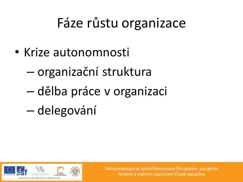 Fáze růstu organizace • Krize autonomnosti – organizační struktura – dělba práce v organizaci – delegování
