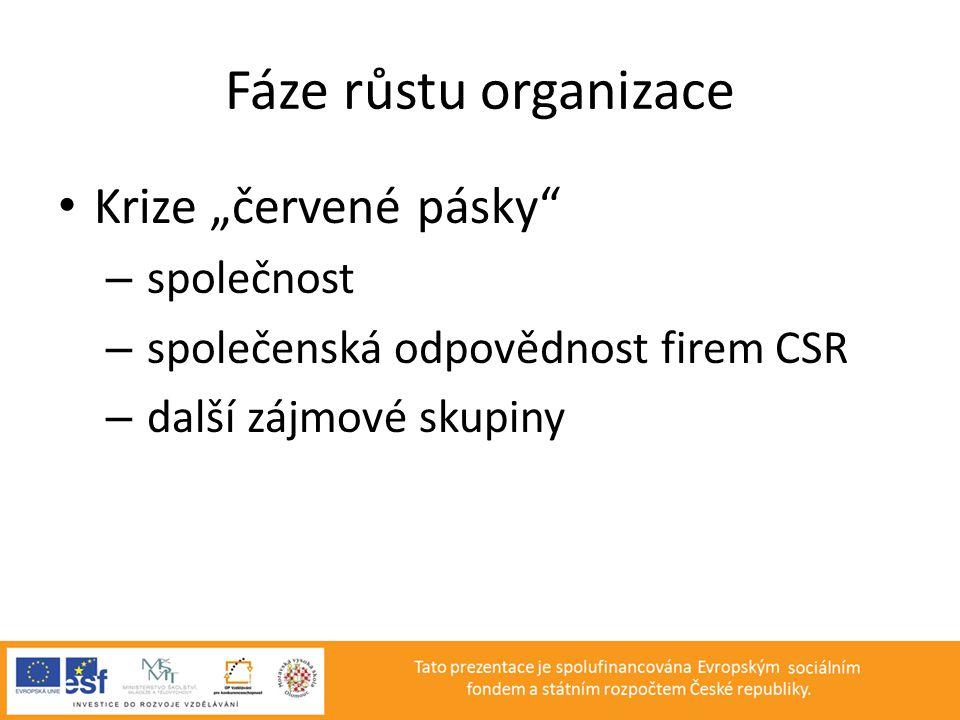 """Fáze růstu organizace • Krize """"červené pásky"""" – společnost – společenská odpovědnost firem CSR – další zájmové skupiny"""