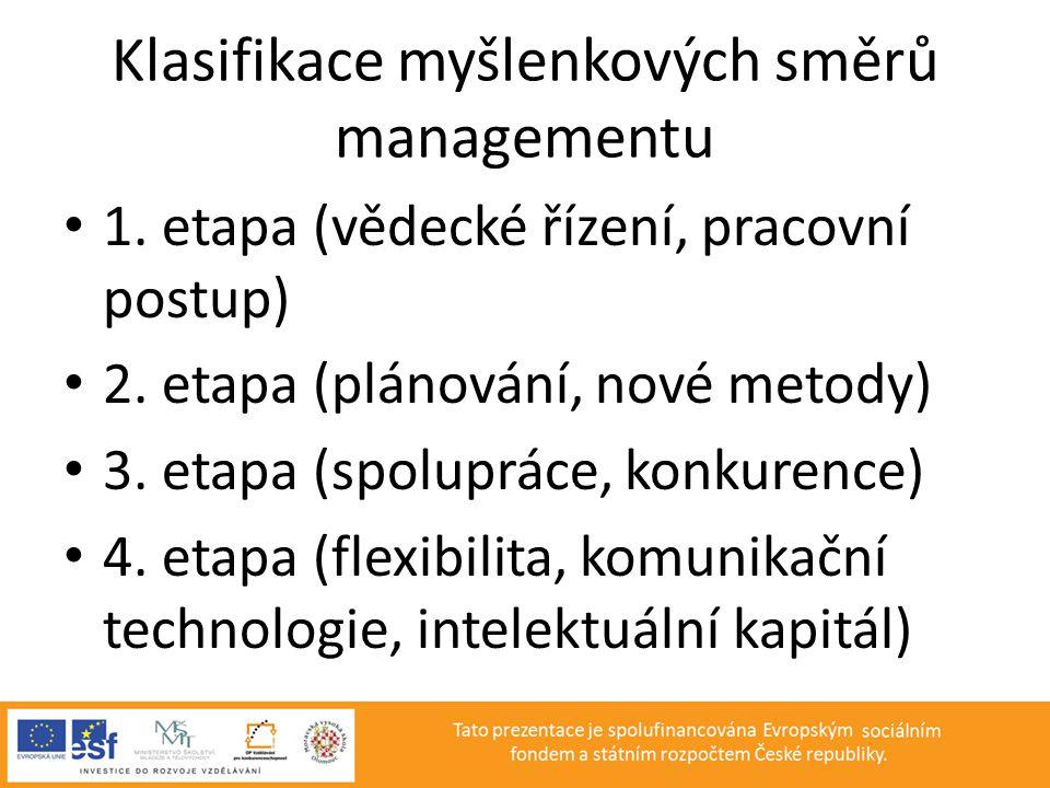 Klasifikace myšlenkových směrů managementu • 1. etapa (vědecké řízení, pracovní postup) • 2. etapa (plánování, nové metody) • 3. etapa (spolupráce, ko