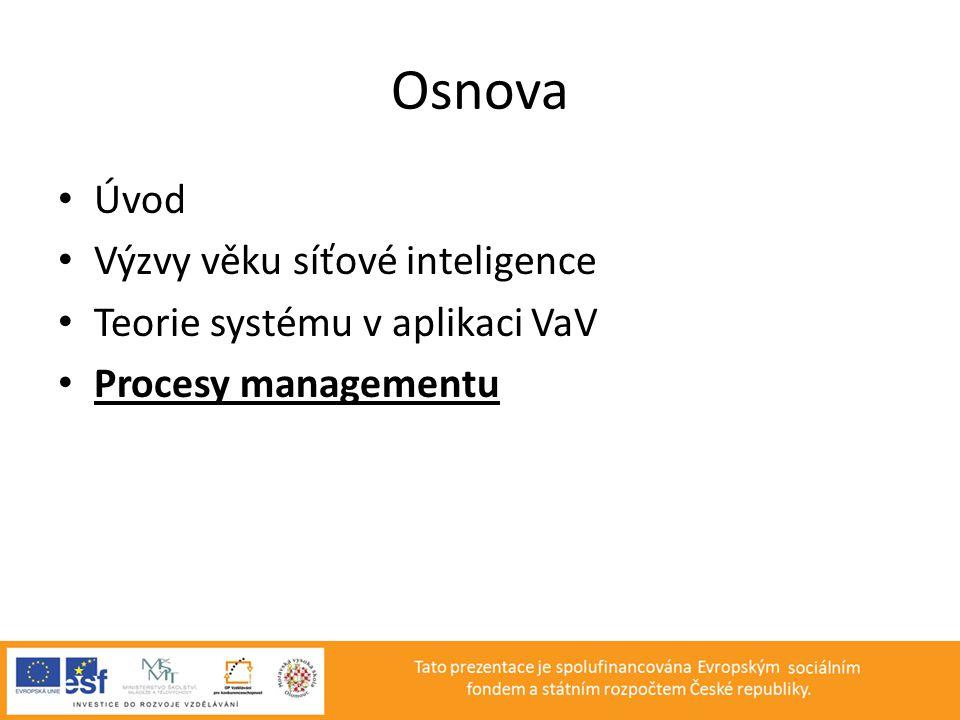 Osnova • Úvod • Výzvy věku síťové inteligence • Teorie systému v aplikaci VaV • Procesy managementu