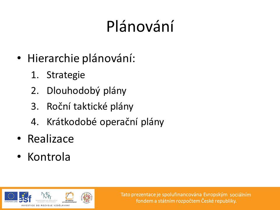 Plánování • Hierarchie plánování: 1.Strategie 2.Dlouhodobý plány 3.Roční taktické plány 4.Krátkodobé operační plány • Realizace • Kontrola
