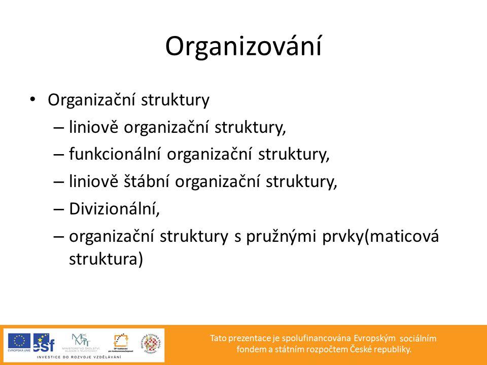 Organizování • Organizační struktury – liniově organizační struktury, – funkcionální organizační struktury, – liniově štábní organizační struktury, –