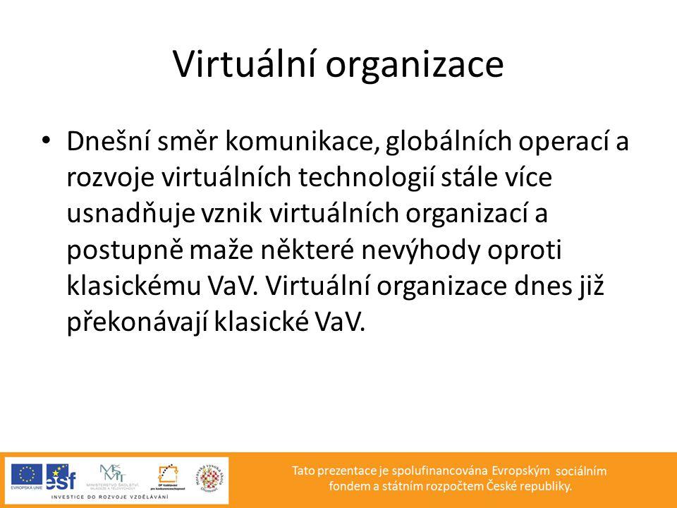 Virtuální organizace • Dnešní směr komunikace, globálních operací a rozvoje virtuálních technologií stále více usnadňuje vznik virtuálních organizací