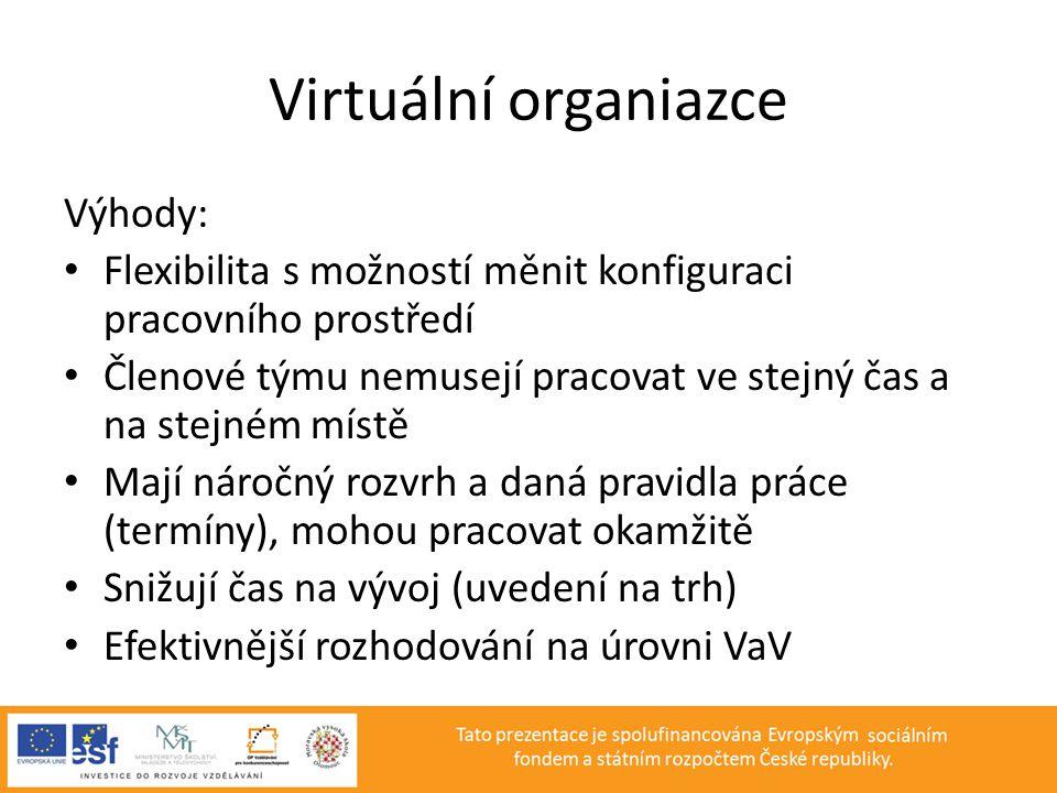 Virtuální organiazce Výhody: • Flexibilita s možností měnit konfiguraci pracovního prostředí • Členové týmu nemusejí pracovat ve stejný čas a na stejn