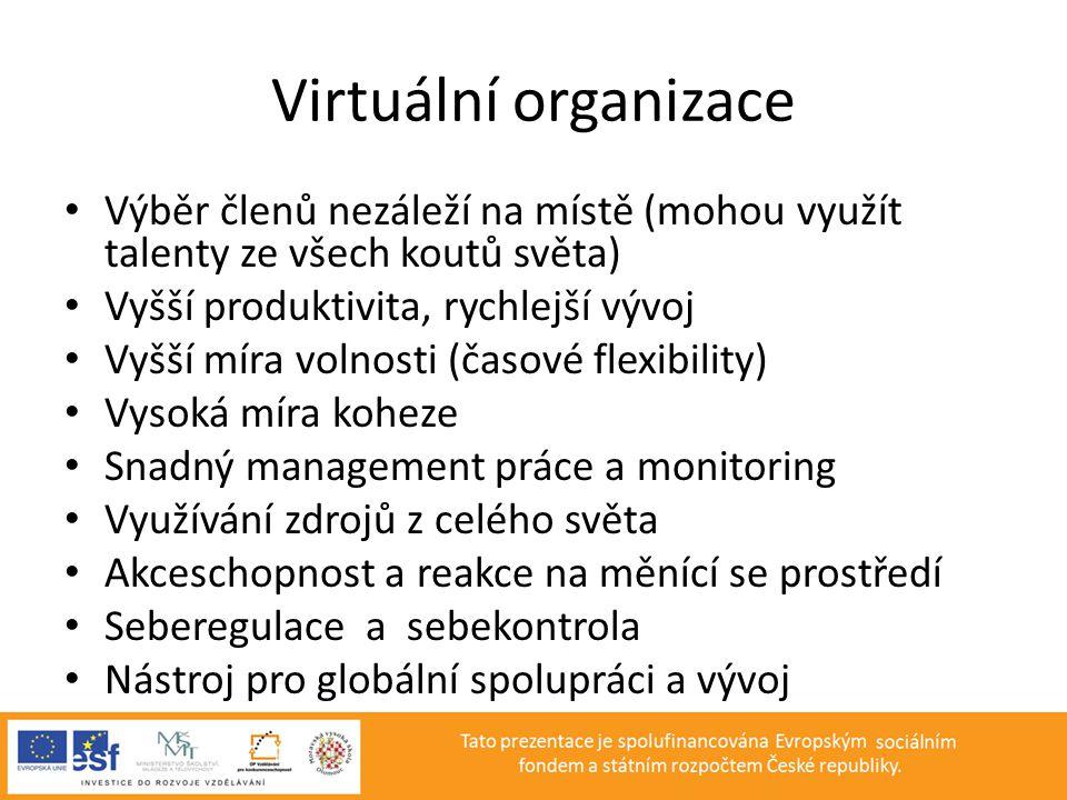 Virtuální organizace • Výběr členů nezáleží na místě (mohou využít talenty ze všech koutů světa) • Vyšší produktivita, rychlejší vývoj • Vyšší míra vo