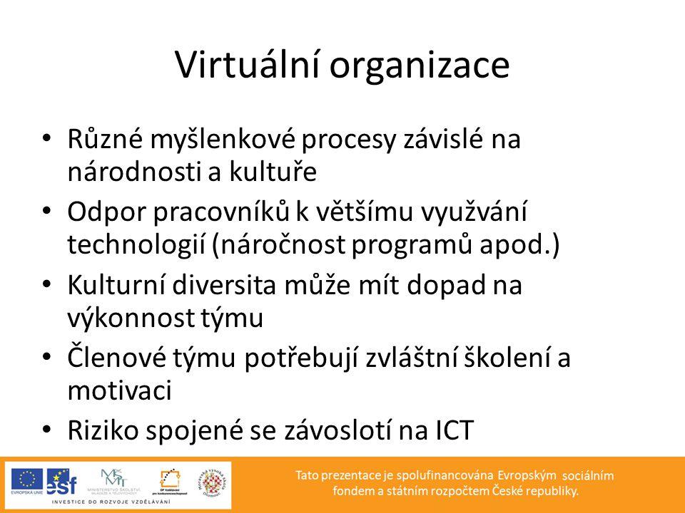 Virtuální organizace • Různé myšlenkové procesy závislé na národnosti a kultuře • Odpor pracovníků k většímu využvání technologií (náročnost programů