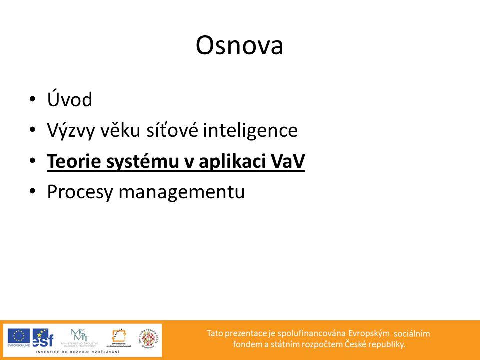 Teorie systému v aplikaci VaV • Teorie systému • Faktory působící na systém • Fáze růstu organizace • Manažer a tým • Klasifikace myšlenkových směrů managementu