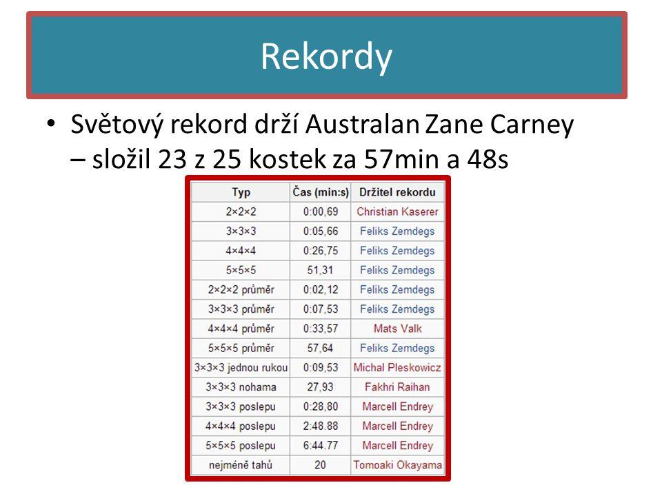 Rekordy • Světový rekord drží Australan Zane Carney – složil 23 z 25 kostek za 57min a 48s
