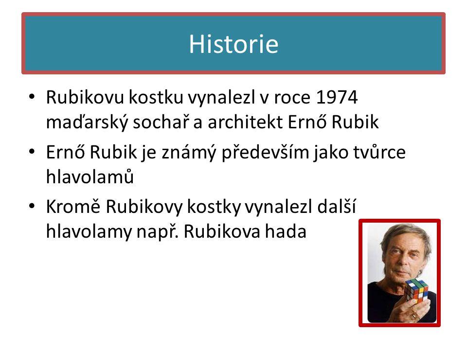 Historie • Rubikovu kostku vynalezl v roce 1974 maďarský sochař a architekt Ernő Rubik • Ernő Rubik je známý především jako tvůrce hlavolamů • Kromě Rubikovy kostky vynalezl další hlavolamy např.