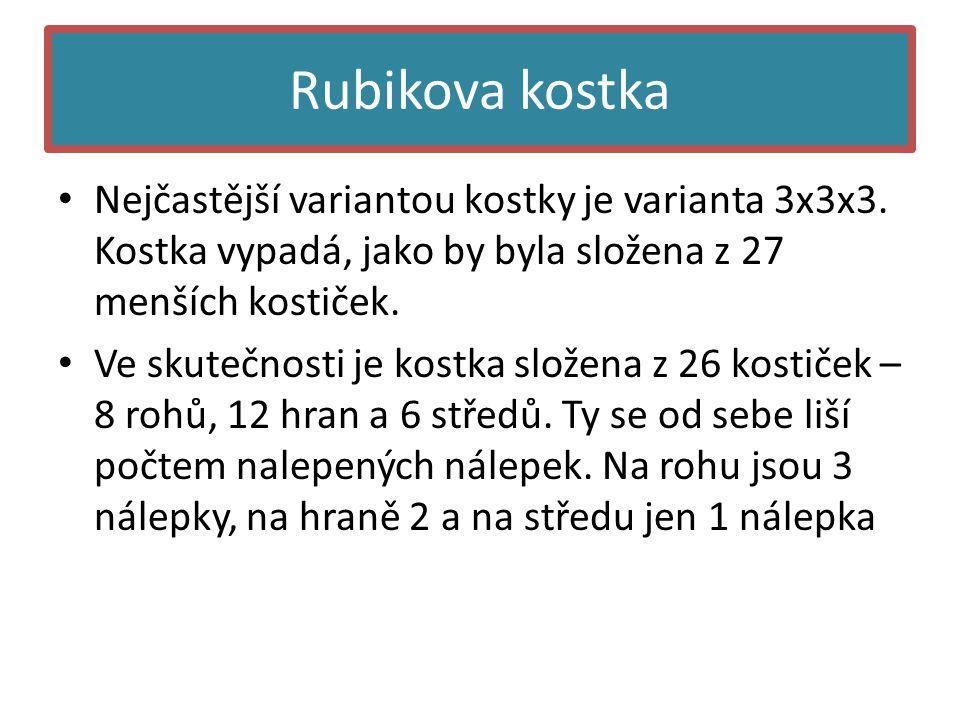 Rubikova kostka • Nejčastější variantou kostky je varianta 3x3x3.