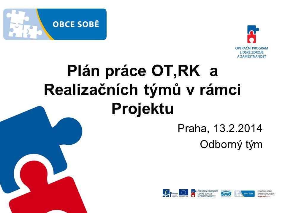 Plán práce OT,RK a Realizačních týmů v rámci Projektu Praha, 13.2.2014 Odborný tým