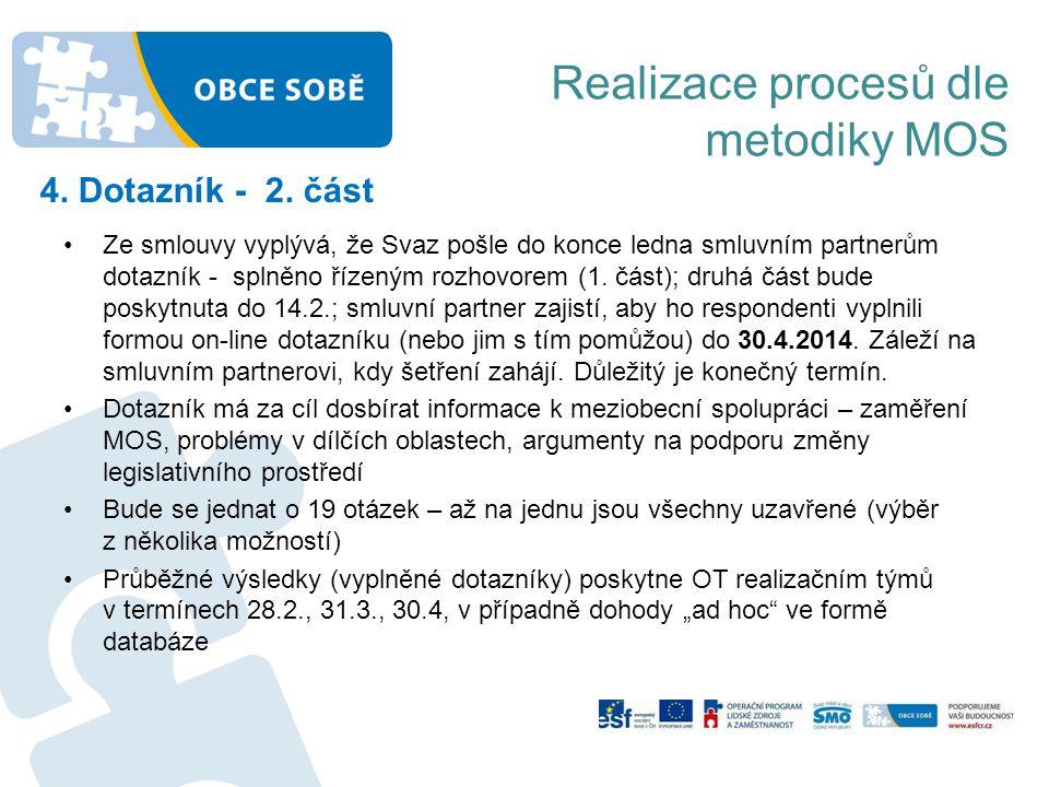 Realizace procesů dle metodiky MOS 4. Dotazník - 2. část •Ze smlouvy vyplývá, že Svaz pošle do konce ledna smluvním partnerům dotazník - splněno řízen