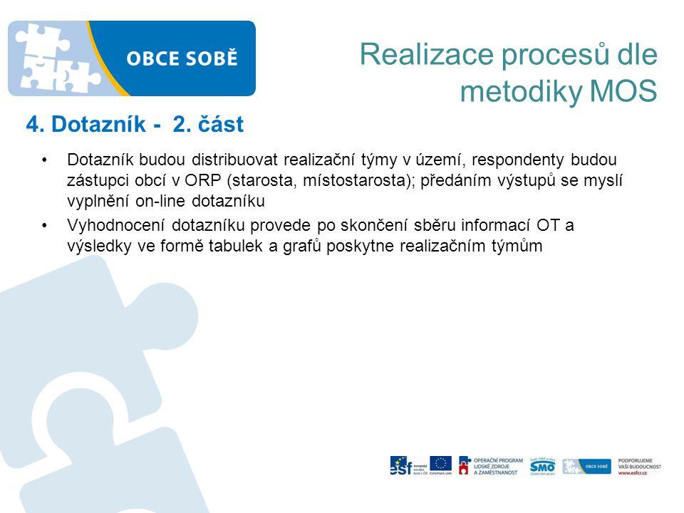 Realizace procesů dle metodiky MOS 4. Dotazník - 2. část •Dotazník budou distribuovat realizační týmy v území, respondenty budou zástupci obcí v ORP (