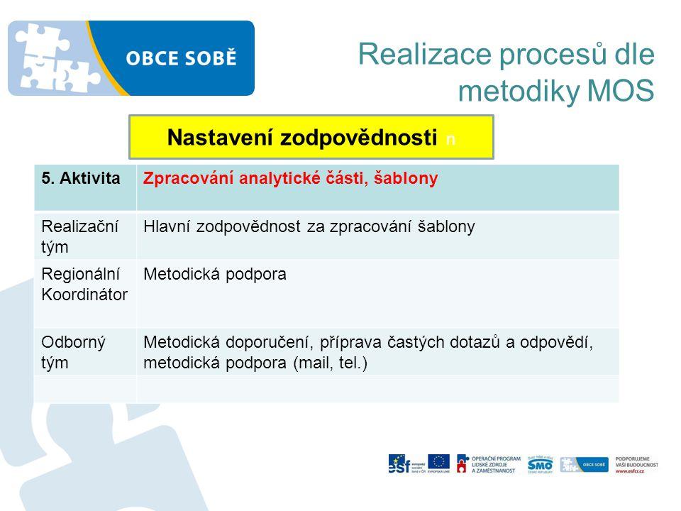 Realizace procesů dle metodiky MOS Nastavení zodpovědnosti n 5. AktivitaZpracování analytické části, šablony Realizační tým Hlavní zodpovědnost za zpr