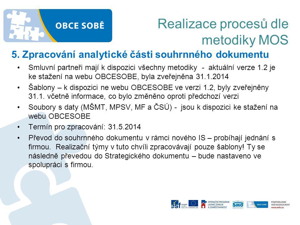 Realizace procesů dle metodiky MOS 5. Zpracování analytické části souhrnného dokumentu •Smluvní partneři mají k dispozici všechny metodiky - aktuální