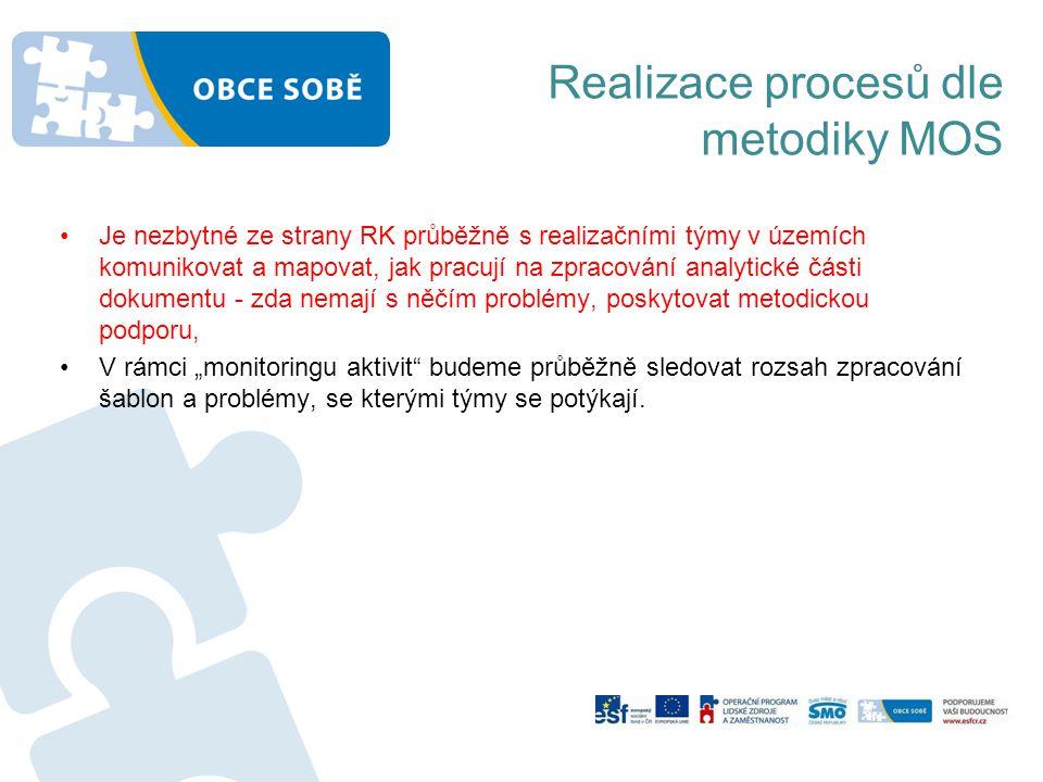 Realizace procesů dle metodiky MOS •Je nezbytné ze strany RK průběžně s realizačními týmy v územích komunikovat a mapovat, jak pracují na zpracování a