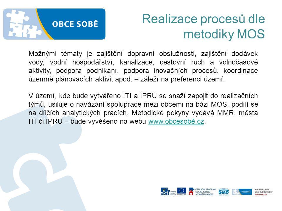 Realizace procesů dle metodiky MOS Možnými tématy je zajištění dopravní obslužnosti, zajištění dodávek vody, vodní hospodářství, kanalizace, cestovní