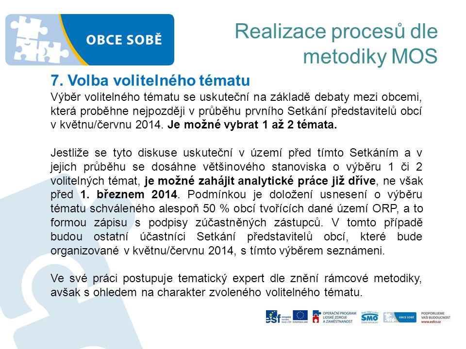 Realizace procesů dle metodiky MOS 7. Volba volitelného tématu Výběr volitelného tématu se uskuteční na základě debaty mezi obcemi, která proběhne nej