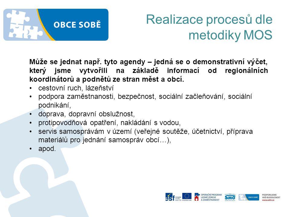 Realizace procesů dle metodiky MOS Může se jednat např. tyto agendy – jedná se o demonstrativní výčet, který jsme vytvořili na základě informací od re