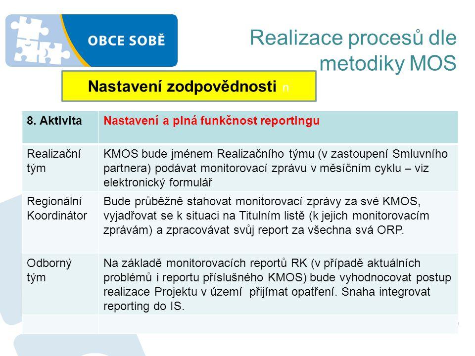 Realizace procesů dle metodiky MOS Nastavení zodpovědnosti n 8. AktivitaNastavení a plná funkčnost reportingu Realizační tým KMOS bude jménem Realizač