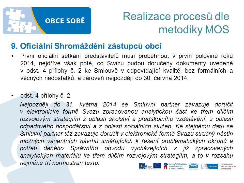 Realizace procesů dle metodiky MOS 9. Oficiální Shromáždění zástupců obcí •První oficiální setkání představitelů musí proběhnout v první polovině roku