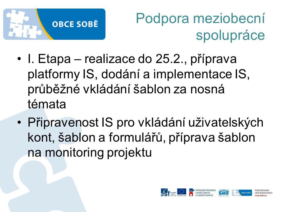 •I. Etapa – realizace do 25.2., příprava platformy IS, dodání a implementace IS, průběžné vkládání šablon za nosná témata •Připravenost IS pro vkládán