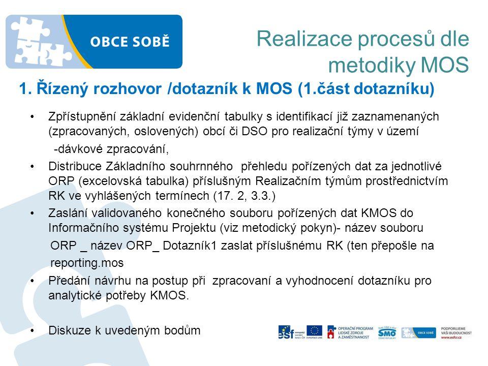 Realizace procesů dle metodiky MOS 1. Řízený rozhovor /dotazník k MOS (1.část dotazníku) •Zpřístupnění základní evidenční tabulky s identifikací již z