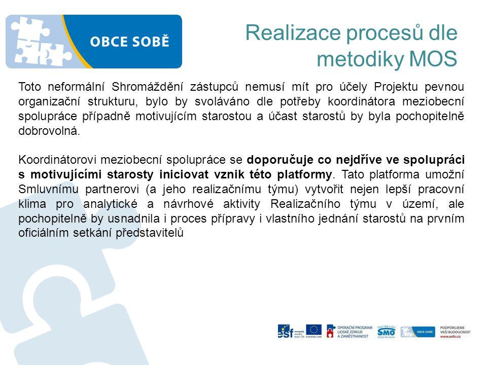 Realizace procesů dle metodiky MOS Toto neformální Shromáždění zástupců nemusí mít pro účely Projektu pevnou organizační strukturu, bylo by svoláváno