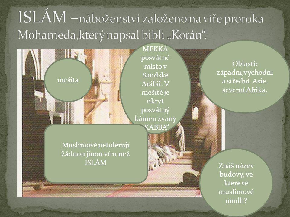 Oblasti: západní,východní a střední Asie, severní Afrika. Znáš název budovy, ve které se muslimové modlí? mešita MEKKA posvátné místo v Saudské Arábii