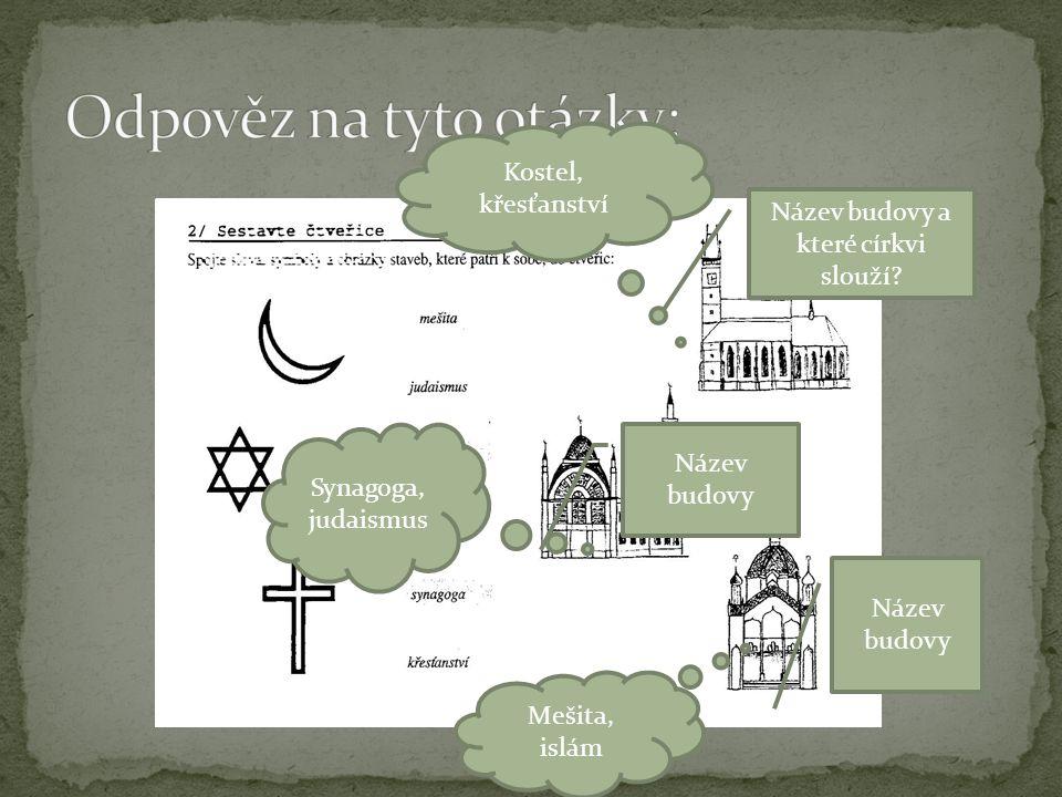 Název budovy a které církvi slouží? Název budovy Kostel, křesťanství Synagoga, judaismus Mešita, islám
